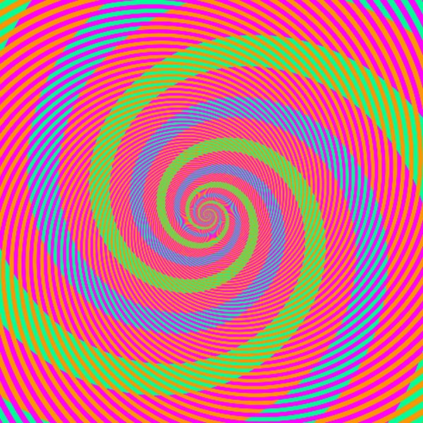 "A group of green and blue spirals"" There appear to be spirals of light green or light blue. Actually, they are identical (R=0, G=255, B=150)."
